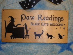 """Paw Readings ..Black Cats Welcome"" Large Unique Wooden Sign Witch Wicca Pagan Occult 12"" x 6"" Unique Handcrafted OOAK"